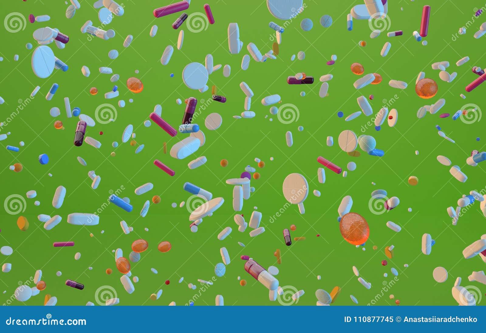 Framförd 3d flyga preventivpillerar på citrongräsplan