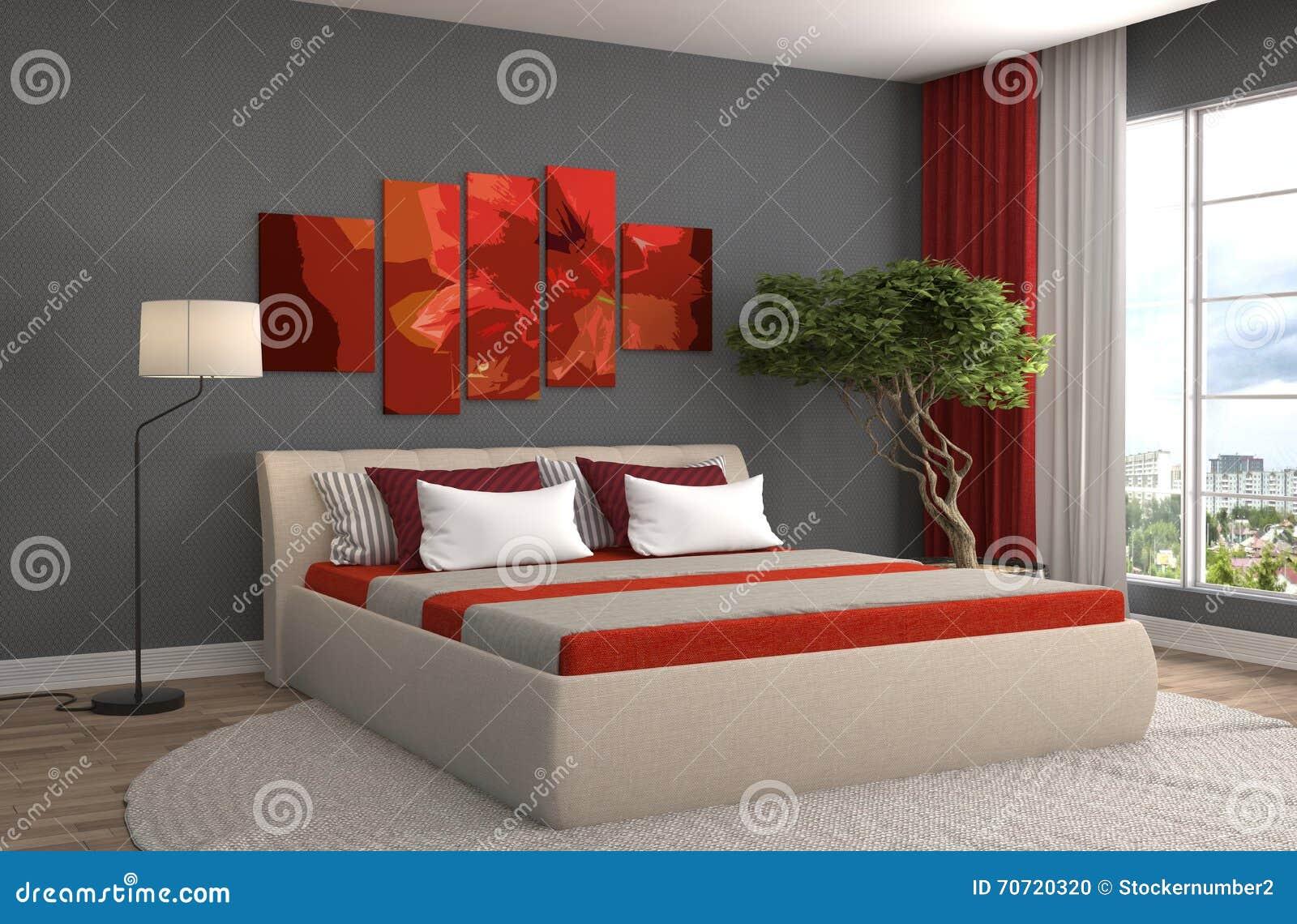 Framförd inre blixt för omgivande sovrum 3d illustration 3d