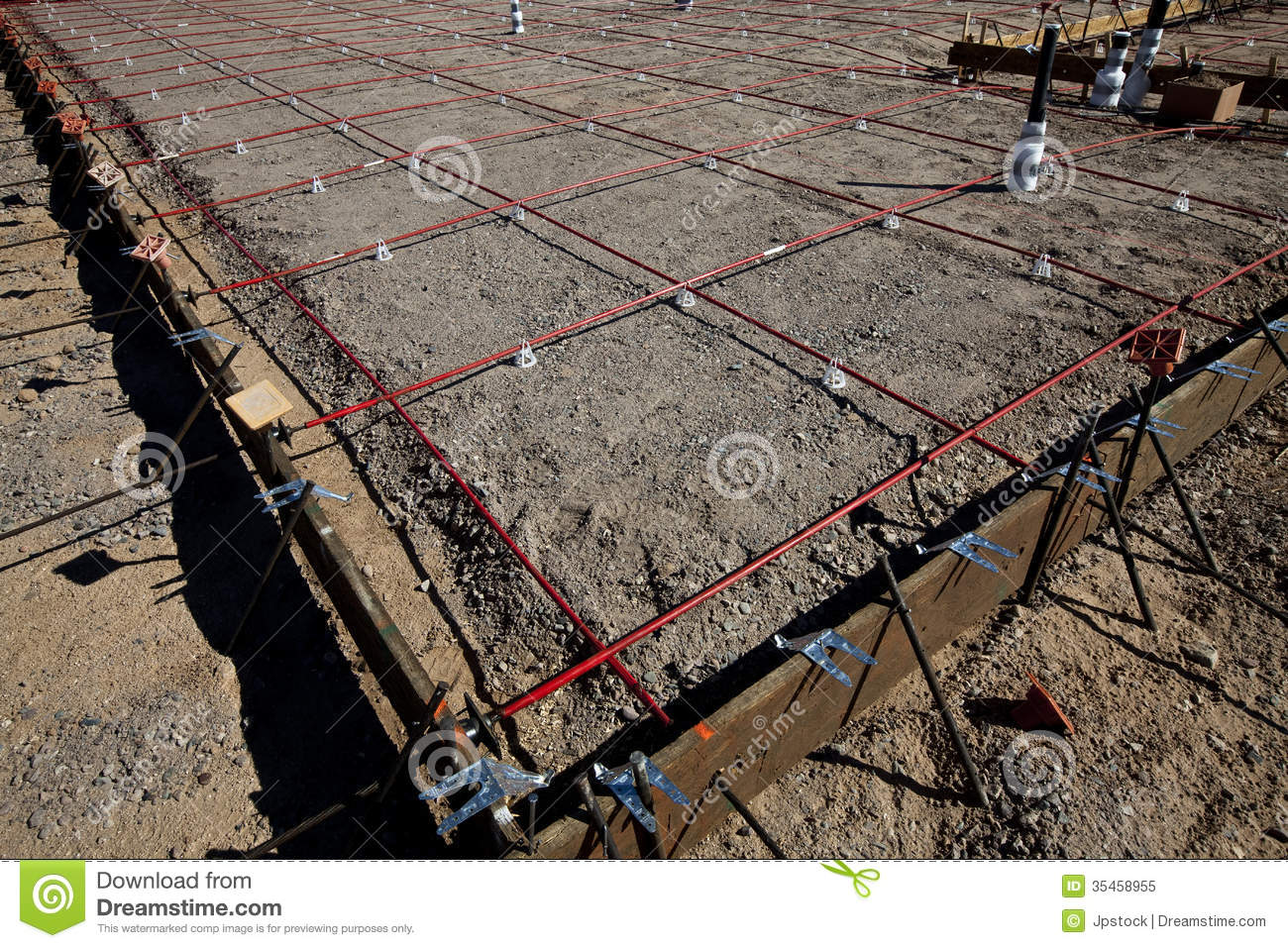 Framing For A Foundation Pour Of Concrete Stock Image - Image of ...