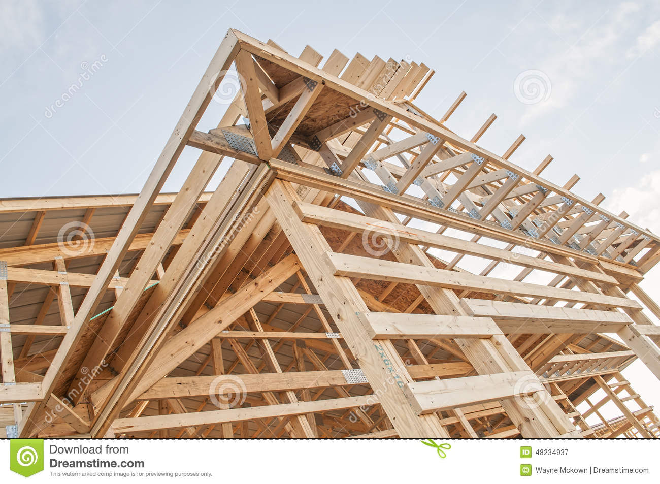 Framing new wooden building structure construction stock for Best wood for building a house