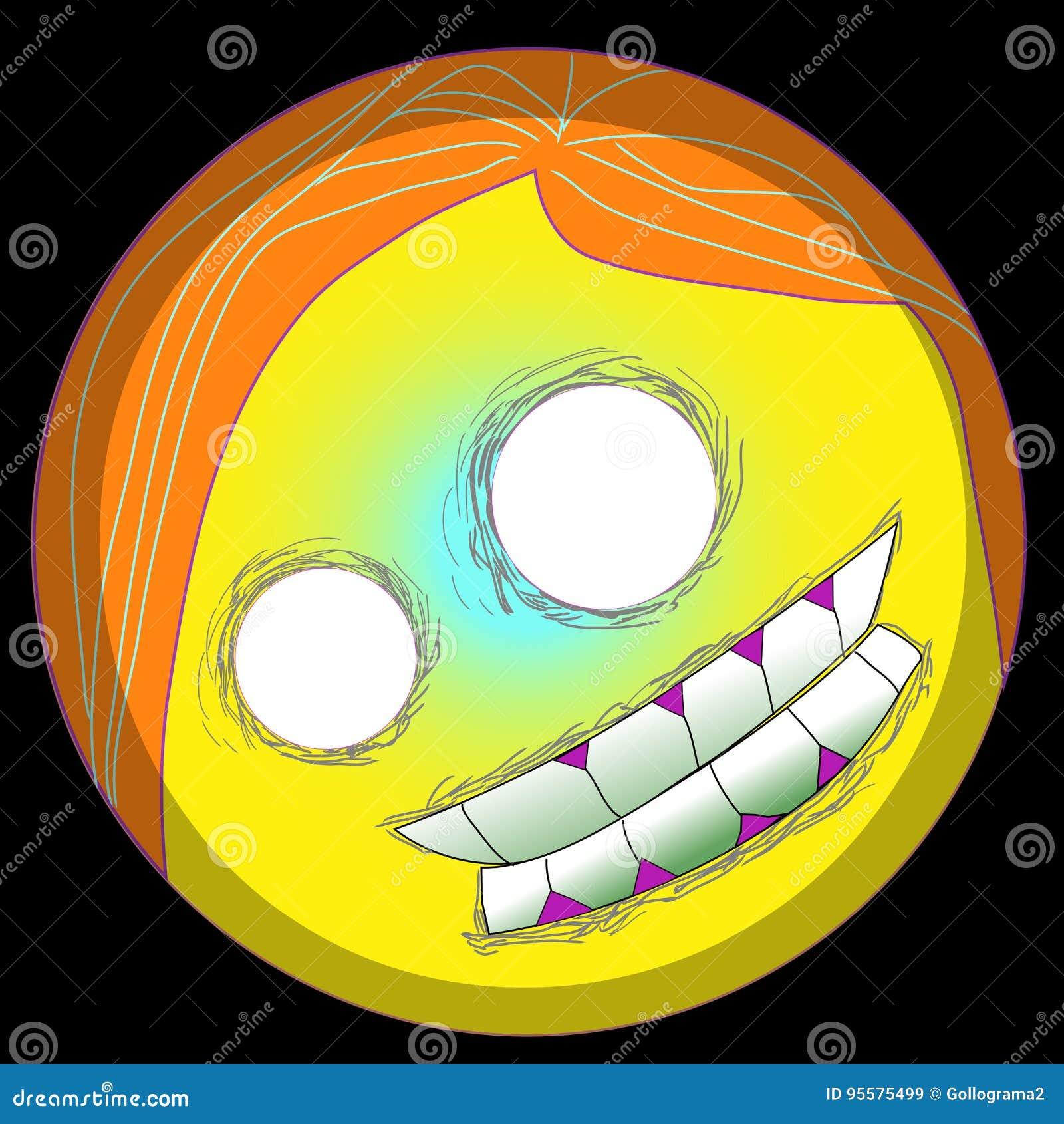 Framsida för smiley för emoji för vektor för allhelgonaafton för popkonst för emojien Clipart 2d eps för gigantiska emoticons för