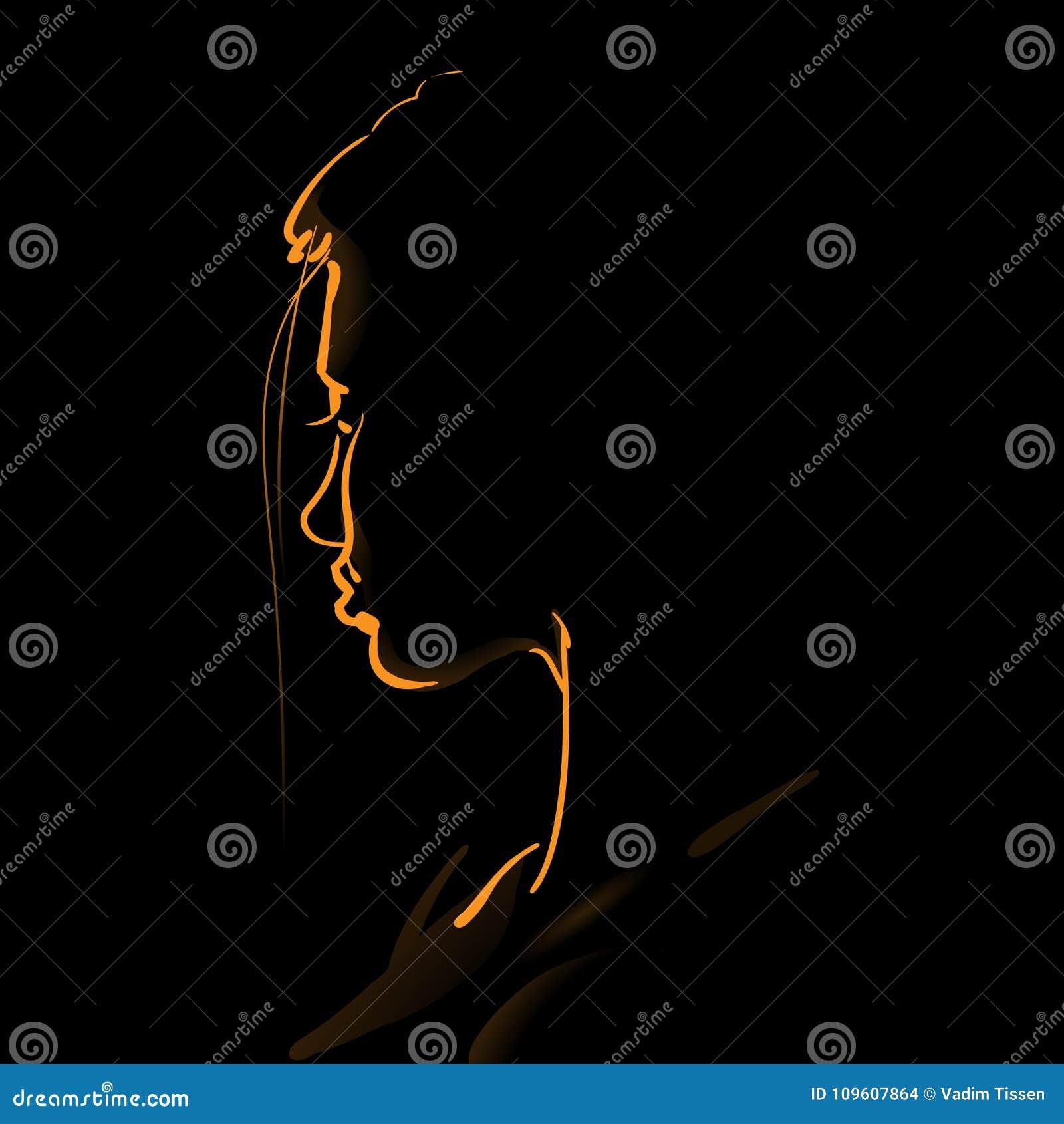 Framsidakontur för kvinna s i panelljus