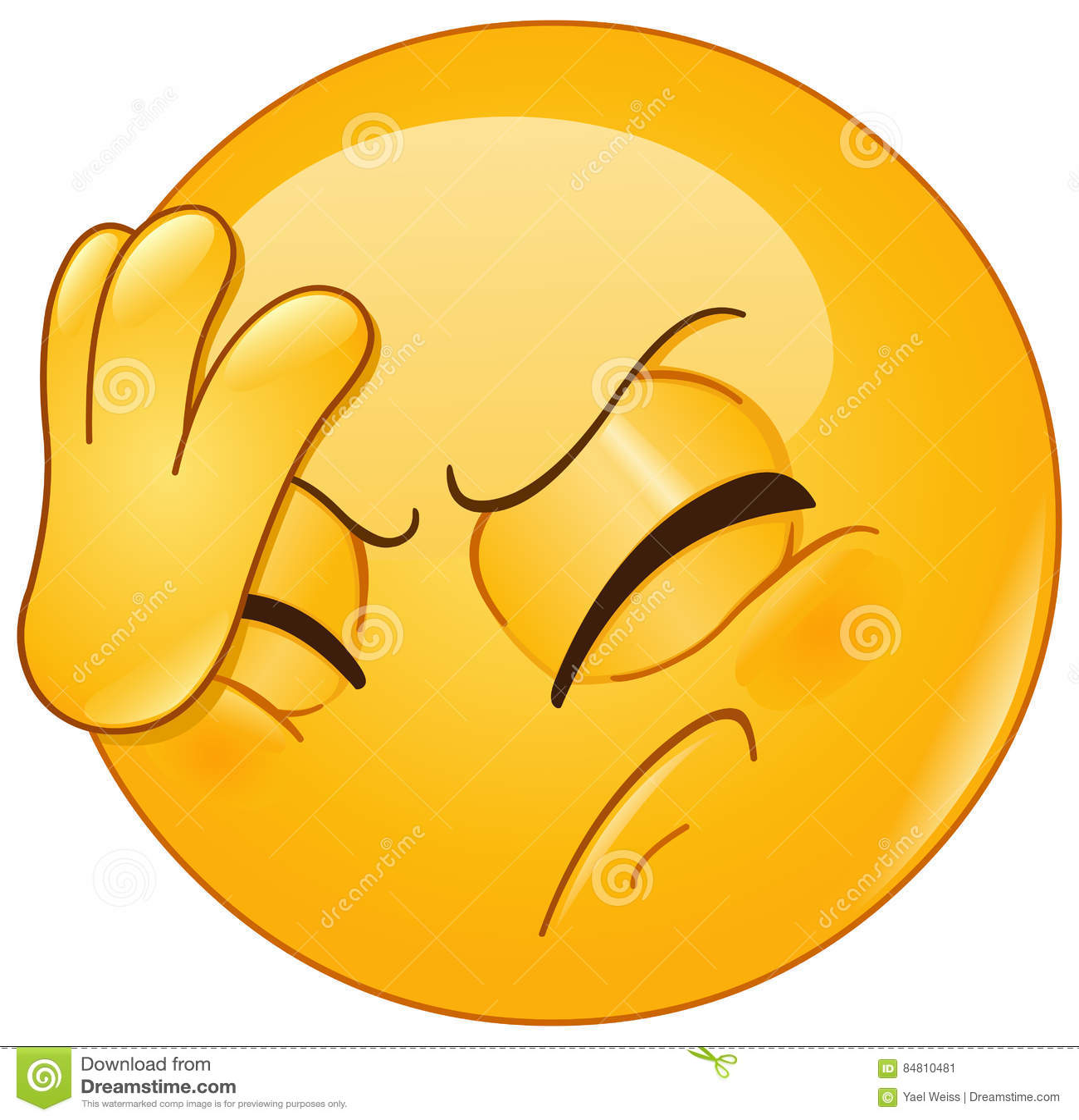 Framsidan gömma i handflatan emoticonen