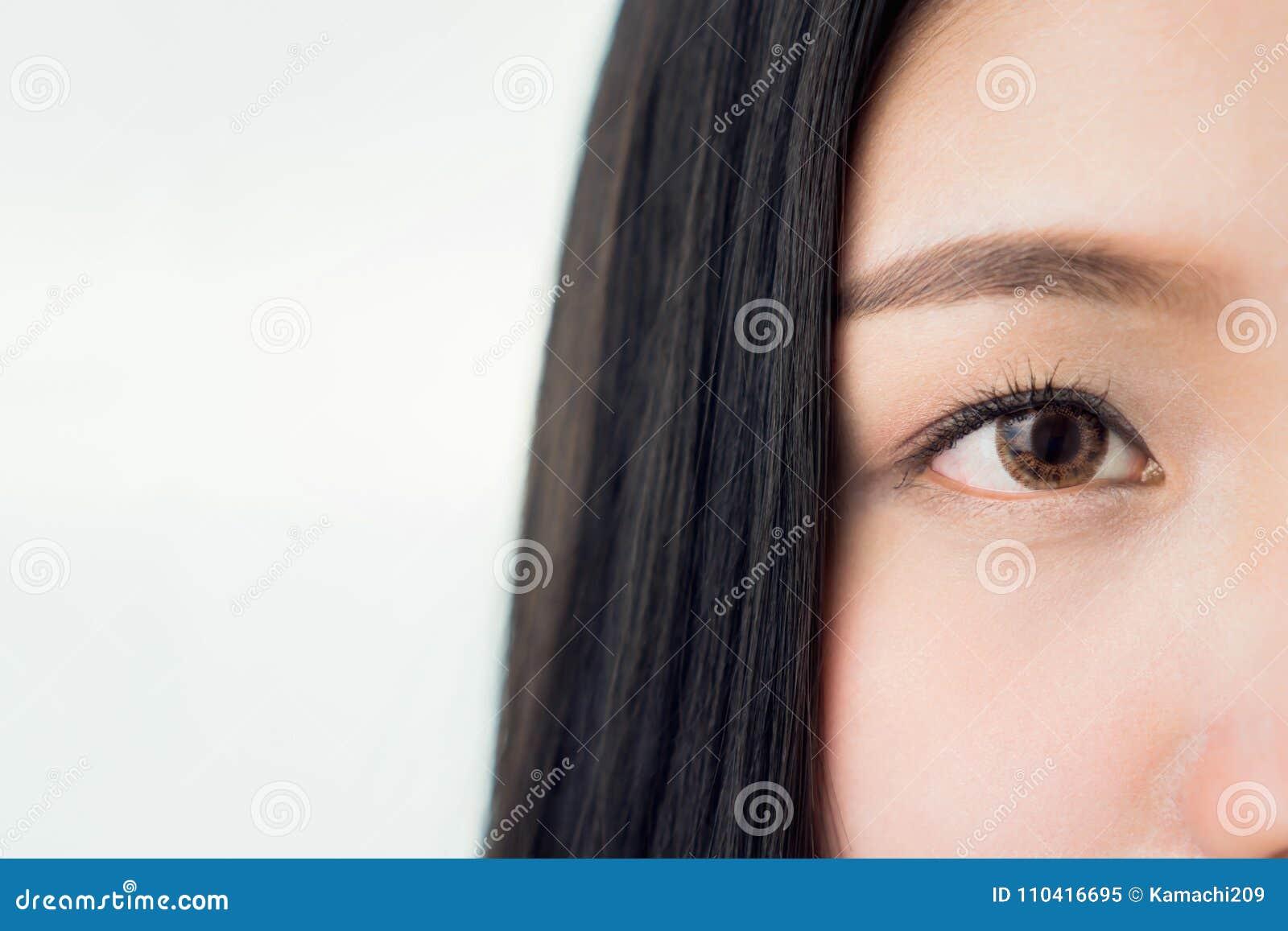 Framsidan och ögat av en kvinna med bra vård- och rosa kanter för hud Ögon ser framåtriktat