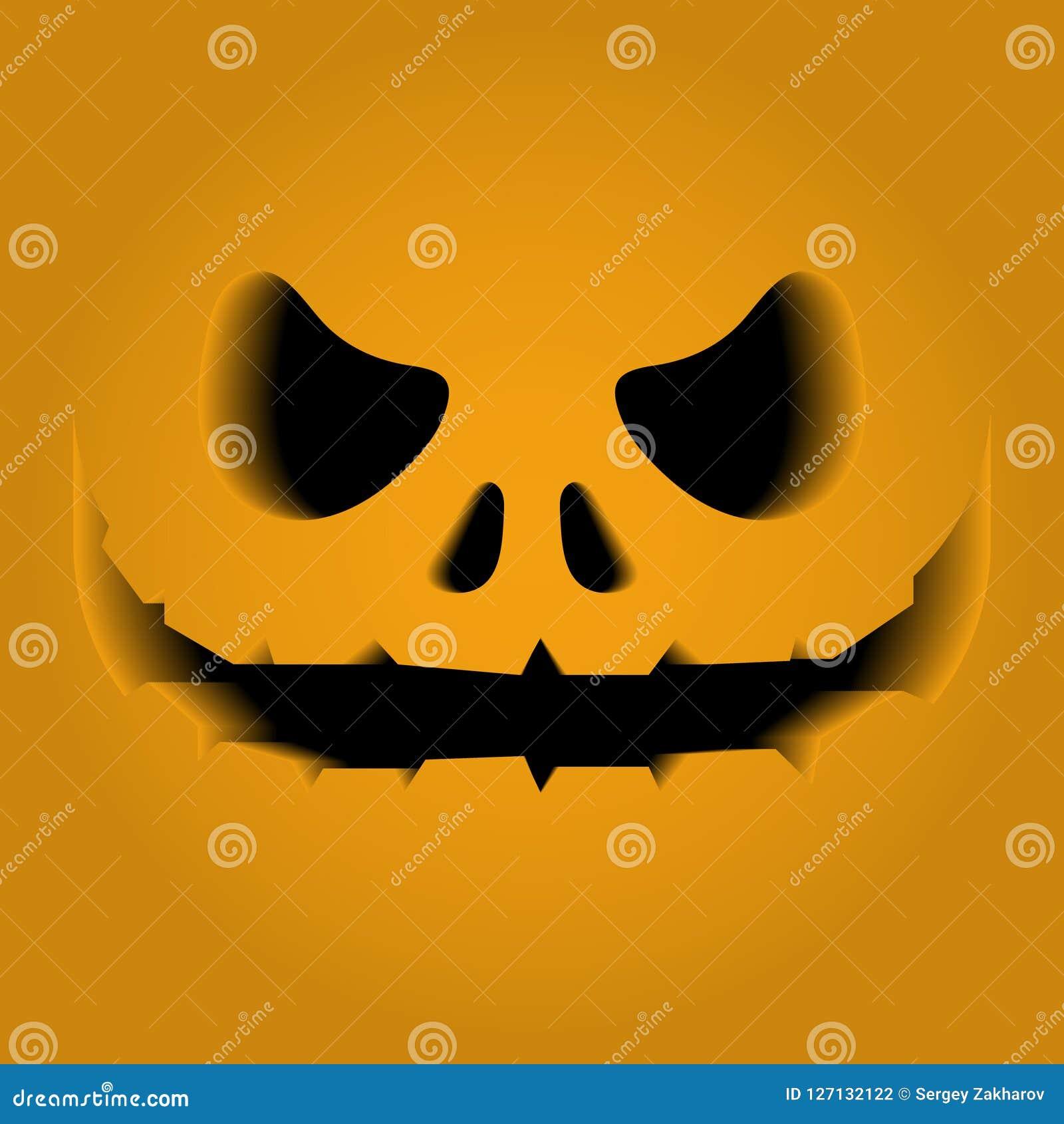 Framsidasärdrag som snidas på en pumpa Volymen, 3D Fasa skräck, nöd halloween Det svarta mellanrummet