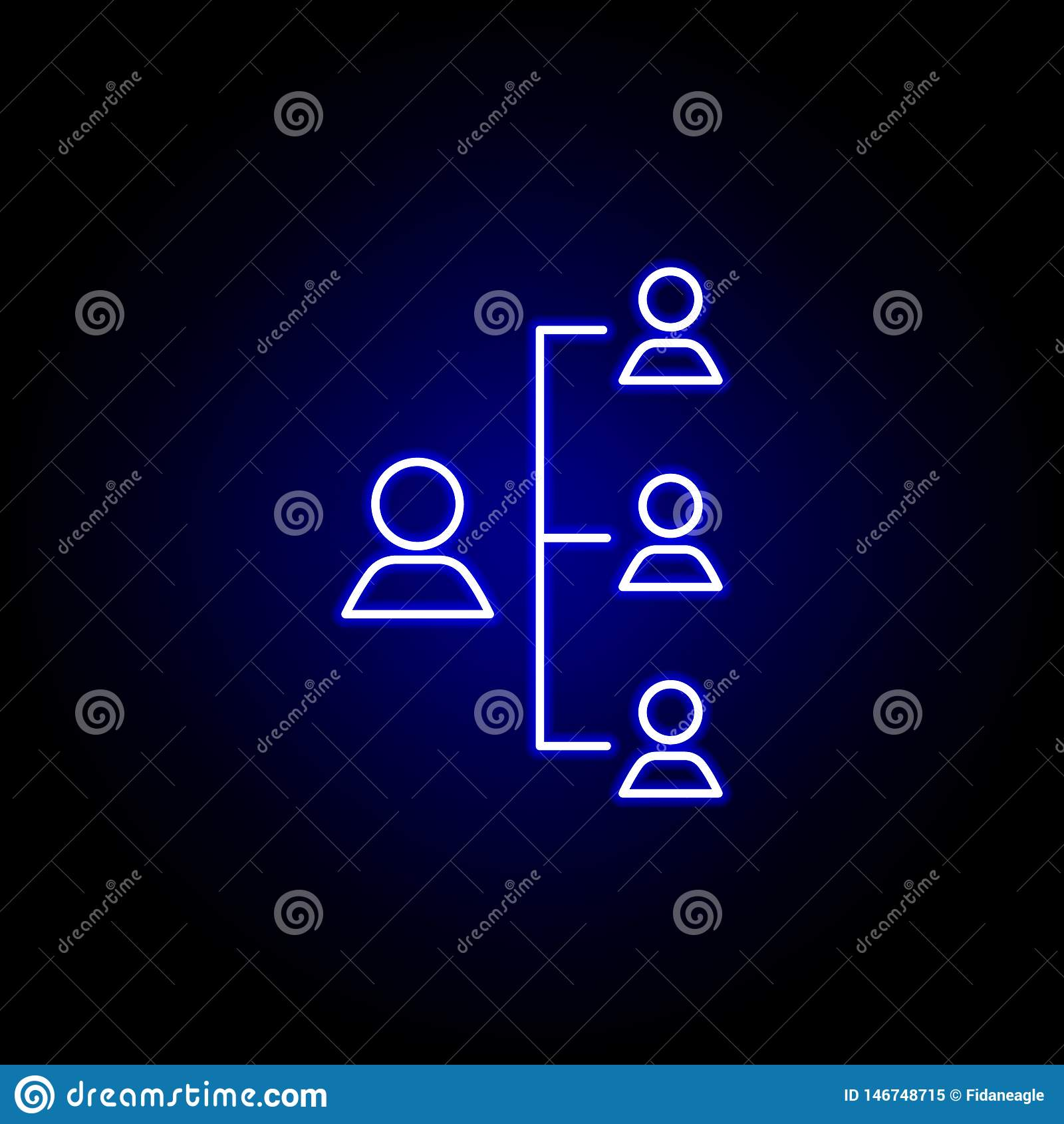 Framstickande hierarki, arbetarsymbol Best?ndsdelar av personalresursillustrationen i neonstilsymbol Tecknet och symboler kan anv