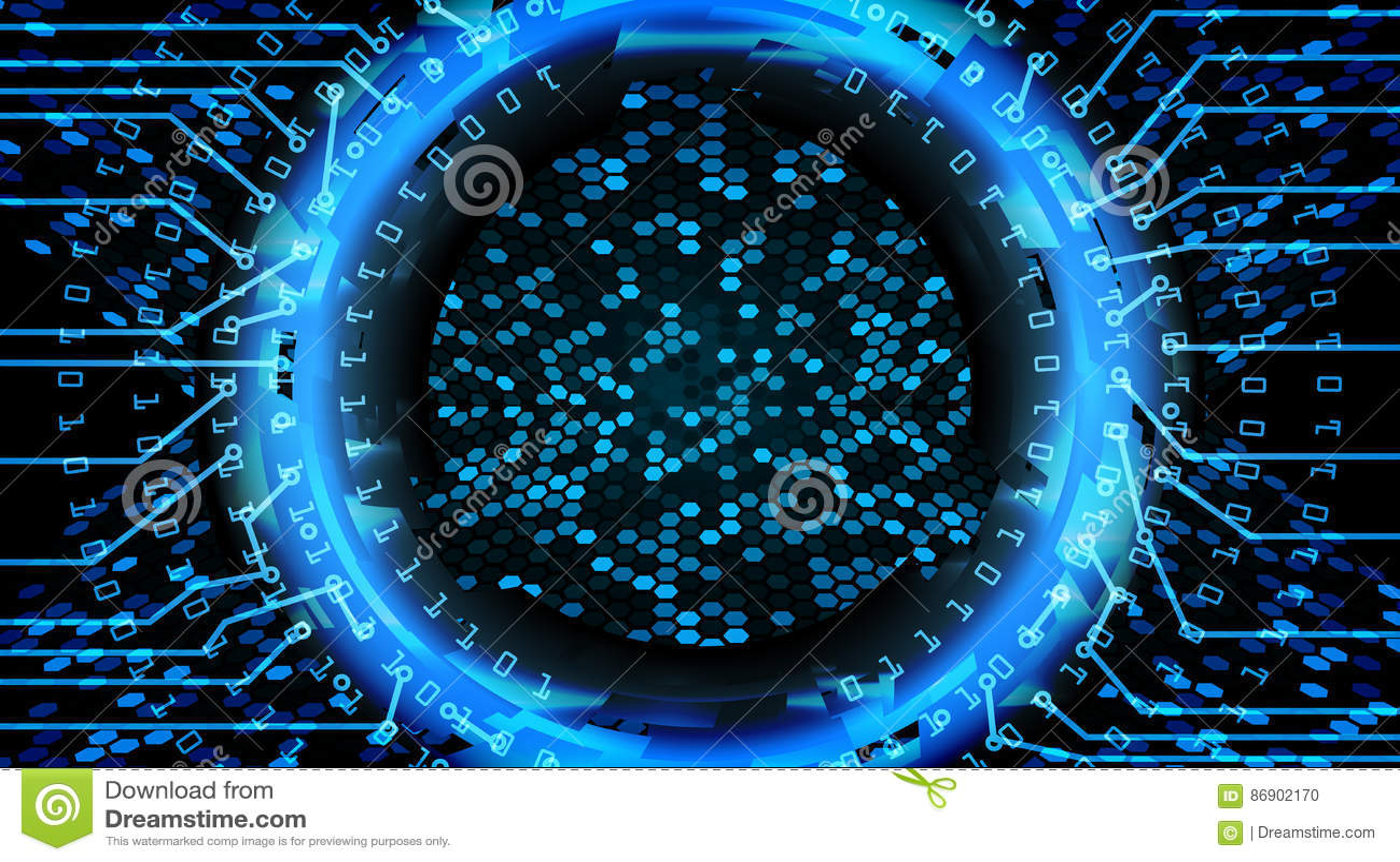 Framtida bakgrund för teknologiCyberbegrepp Abstrakt säkerhetstryck Blått elektroniskt nätverk Design för Digitalt system