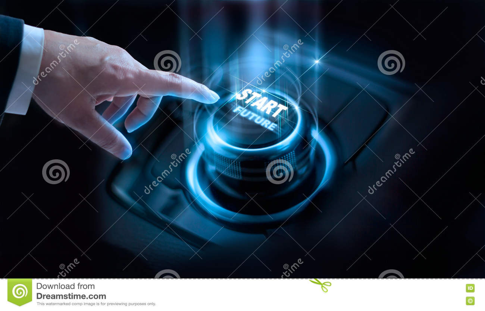 Framtida knapp för affärsmanpressstart med faktiskt ljus
