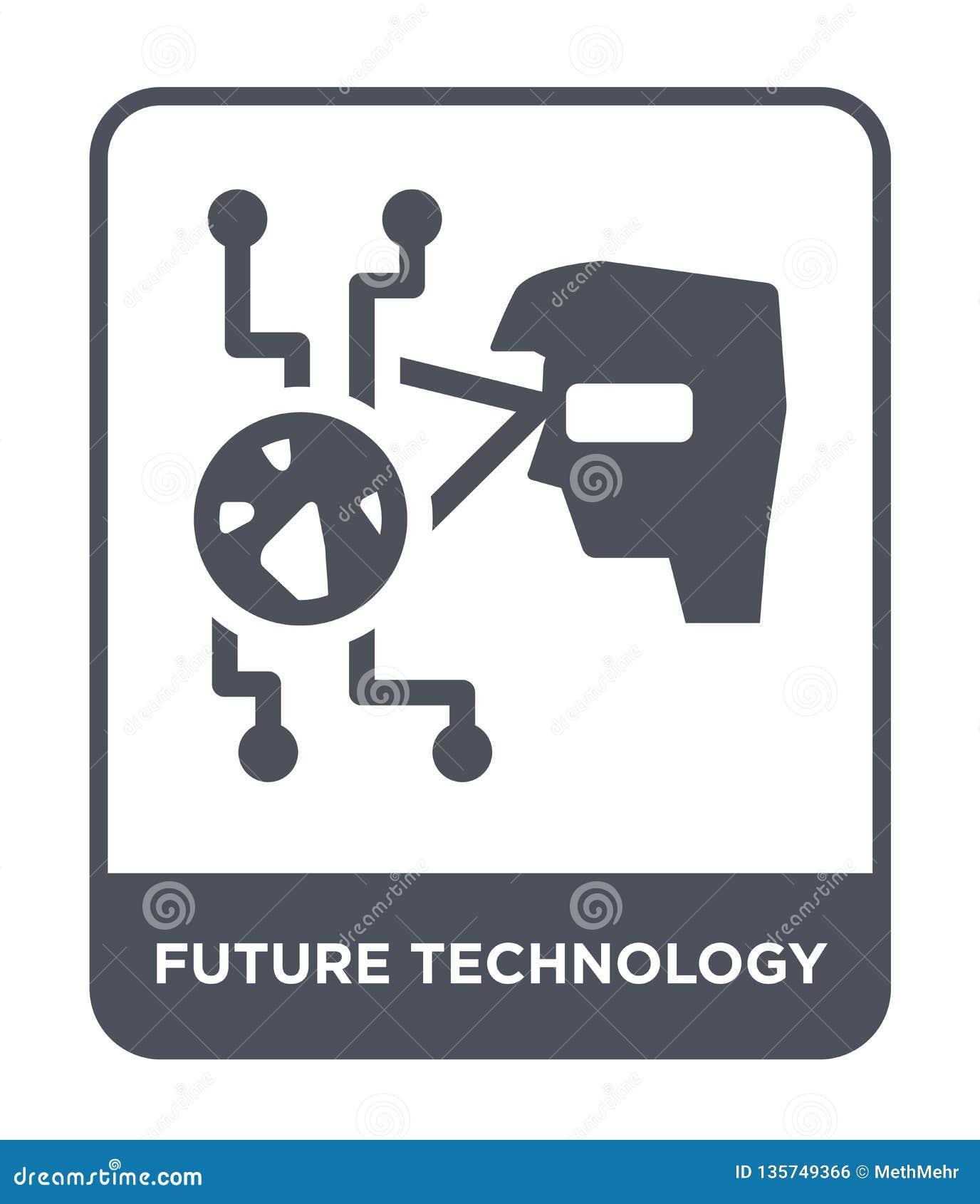 Framtida teknologisymbol i moderiktig designstil framtida teknologisymbol som isoleras på vit bakgrund framtida teknologivektorsy