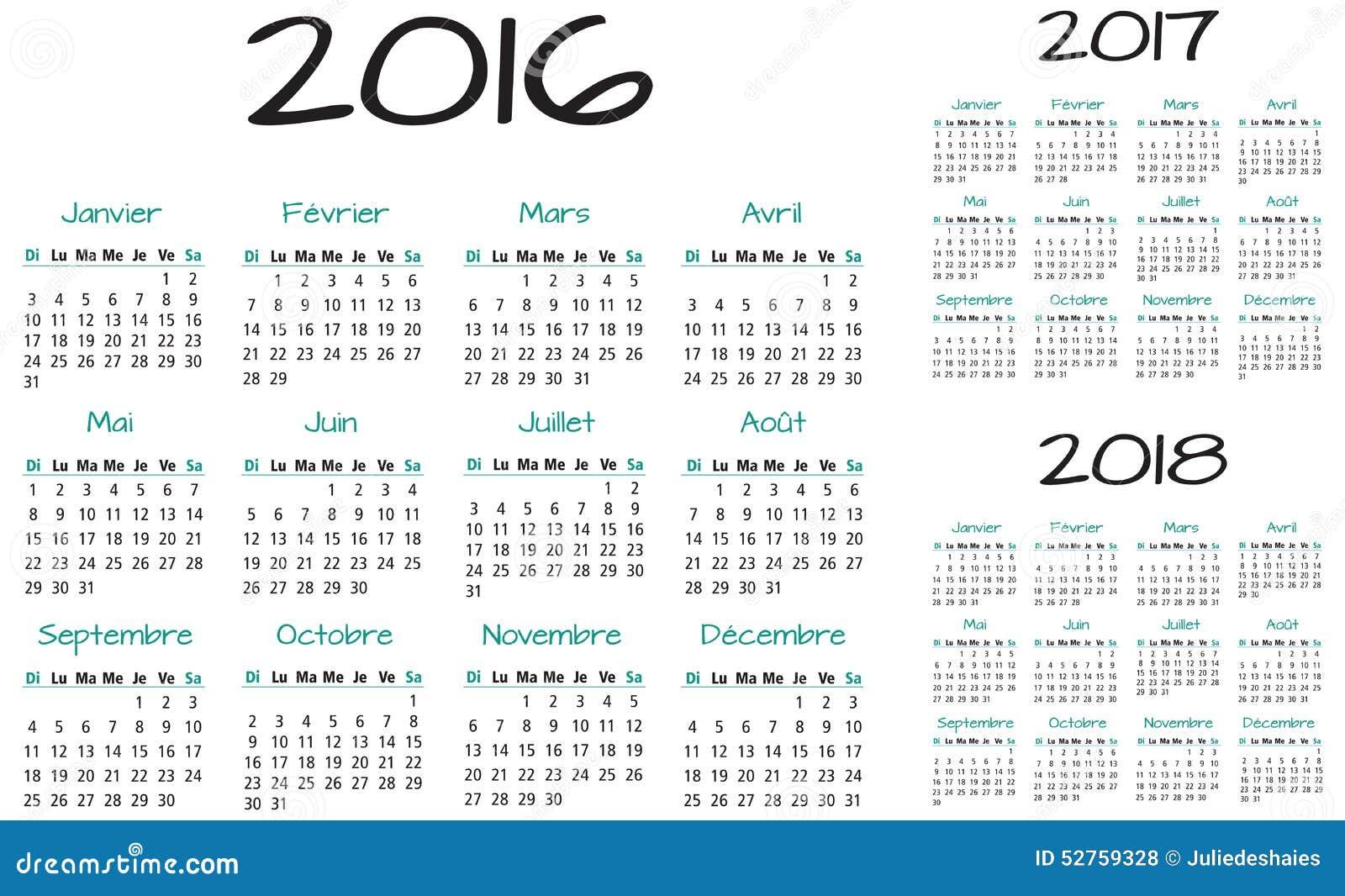 Français 2016 Calendrier De Vecteur De 2017 Et 2018 Ans ...