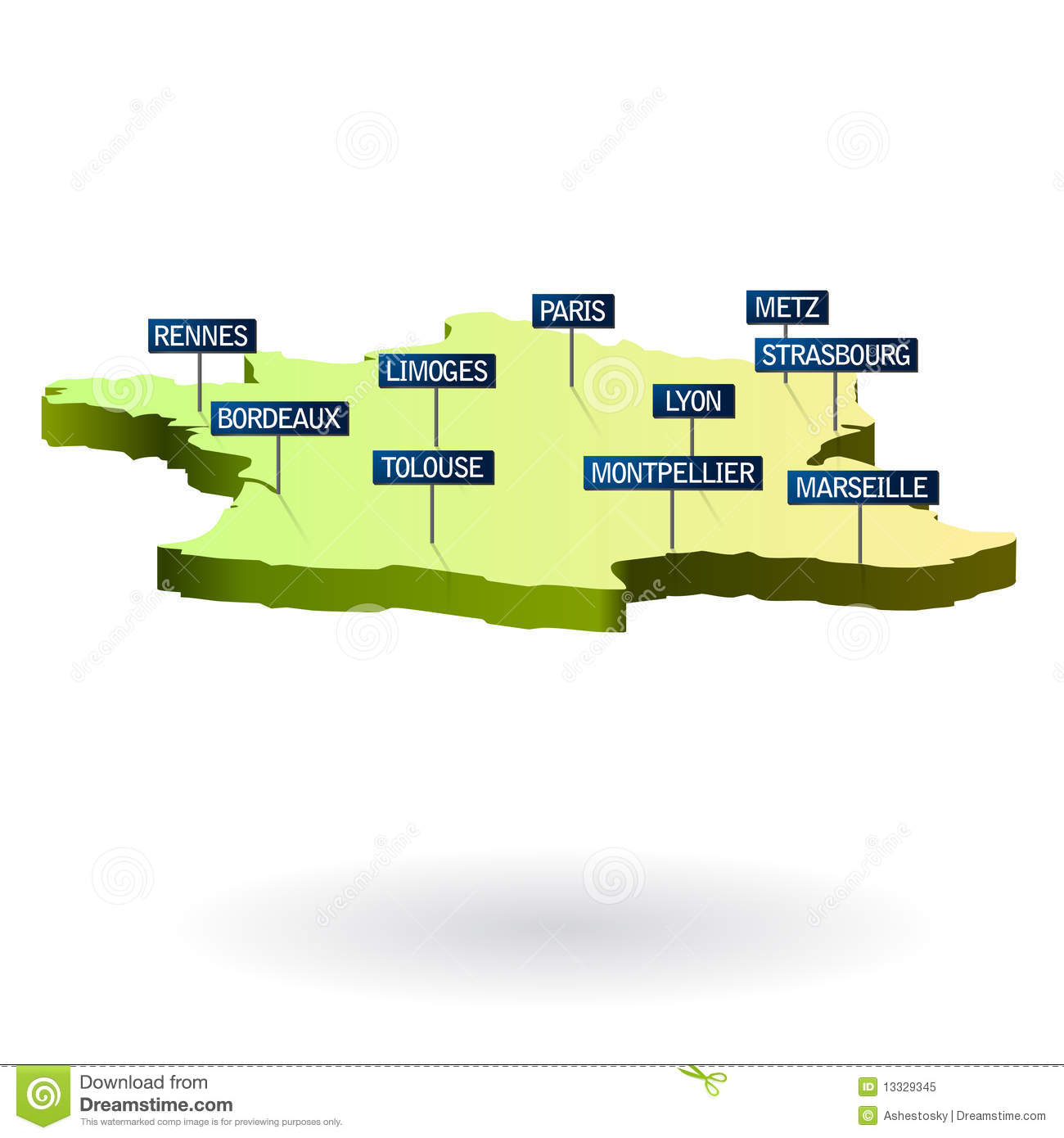Map Of France With City Names.France 3d Map With Cities Stock Vector Illustration Of Name 13329345