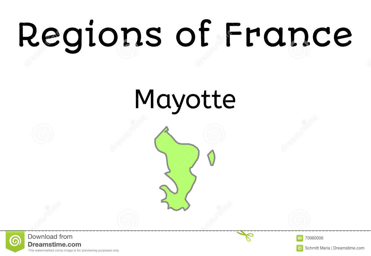Physical Map Of France Outline.France Administrative Map Of Mayotte Stock Illustration