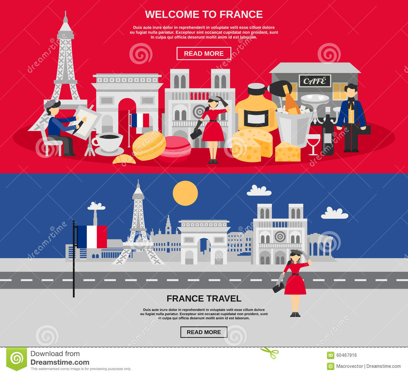 france banner set stock vector