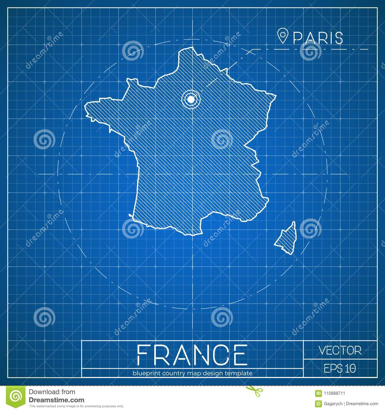 France blueprint map template with capital city stock vector france blueprint map template with capital city malvernweather Images