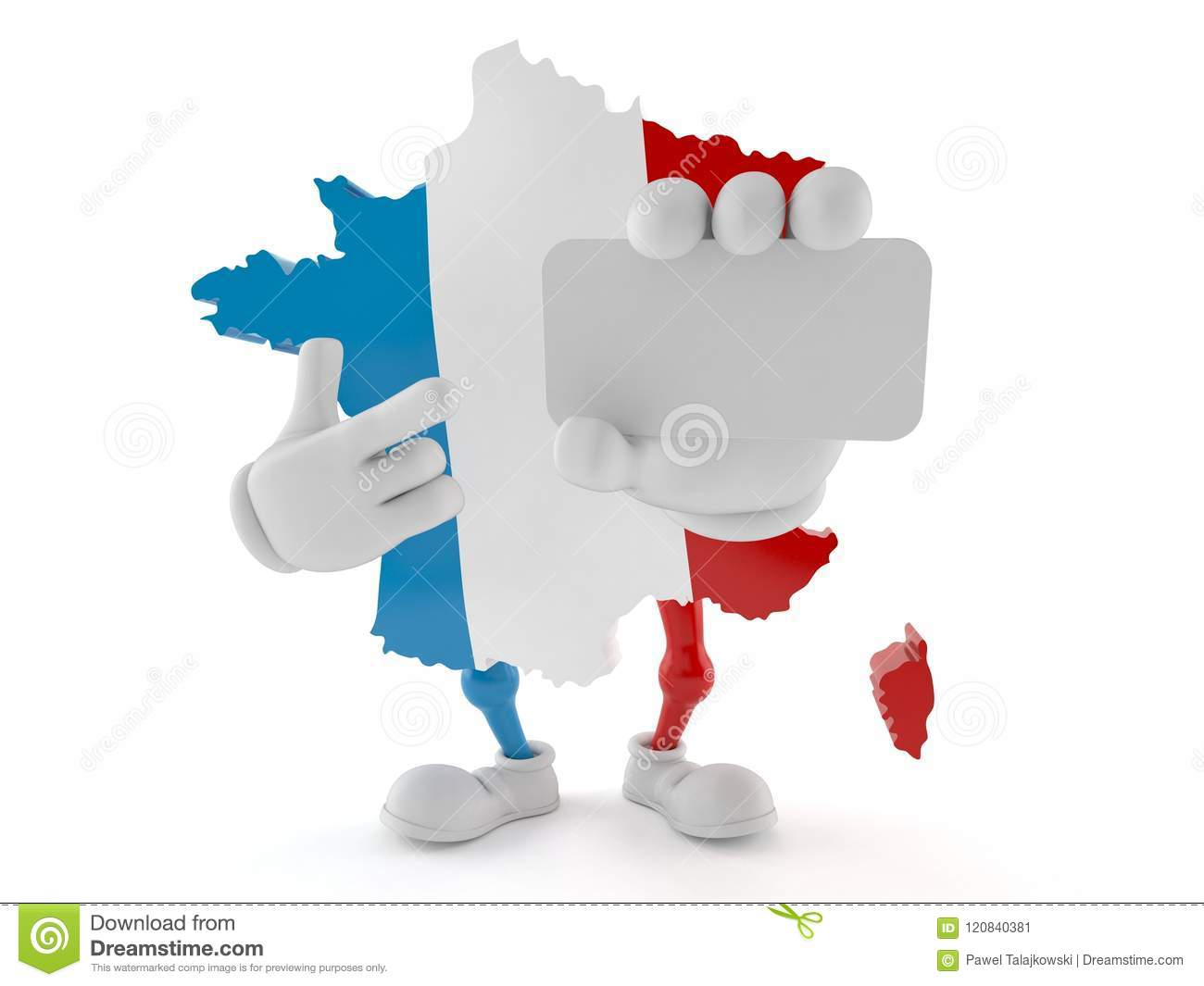 France Character Holding Blank Business Card Stock Illustration