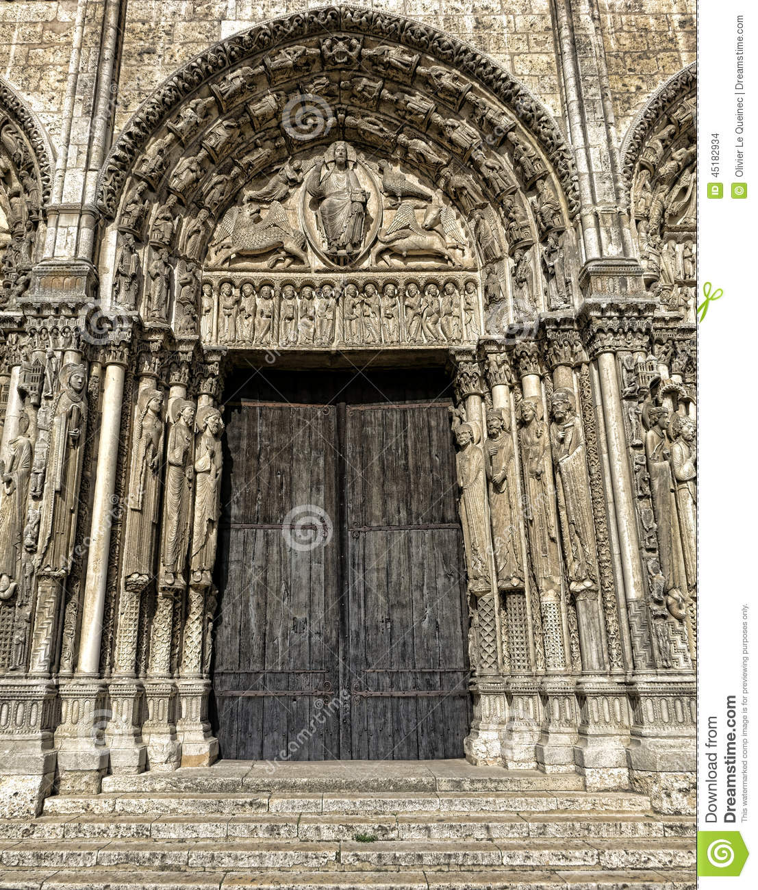 france chartres cathedral west facade royal portal stock