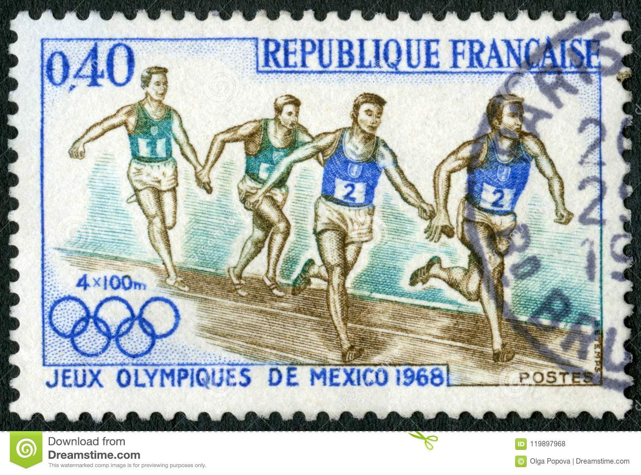 FRANCE - 1968: shows Relay Race, 19th Olympic Games, Mexico City
