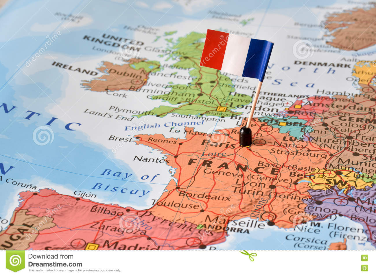 France Map Of The World.France Flag On Map Concept Image World Hot Spot Stock Photo
