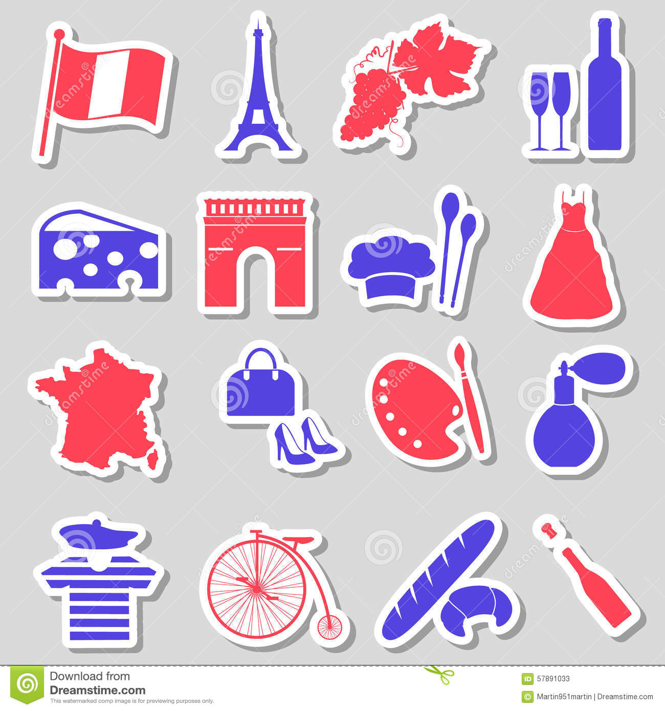 Symbols of france on stickers stock vector illustration of clip france country theme symbols stickers set eps10 stock photos biocorpaavc