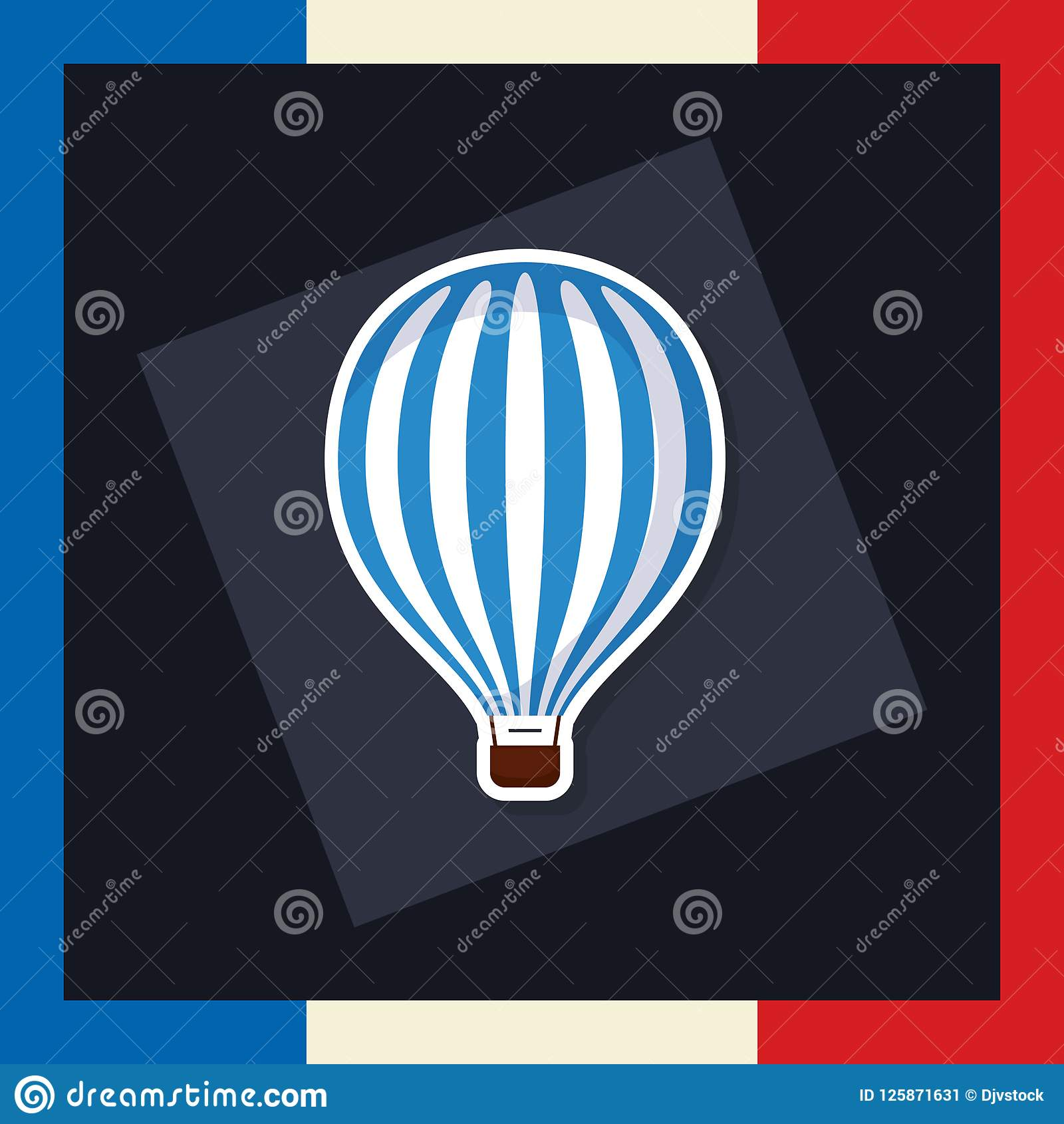 france culture card with balloon helium stock vector illustration