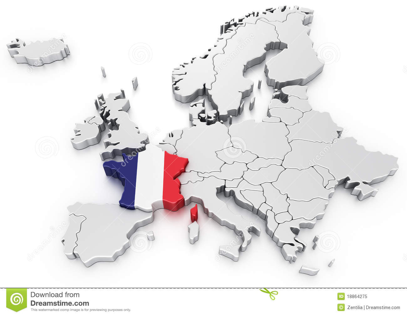France On A Map Of Europe.France On A Euro Map Stock Illustration Illustration Of Europe