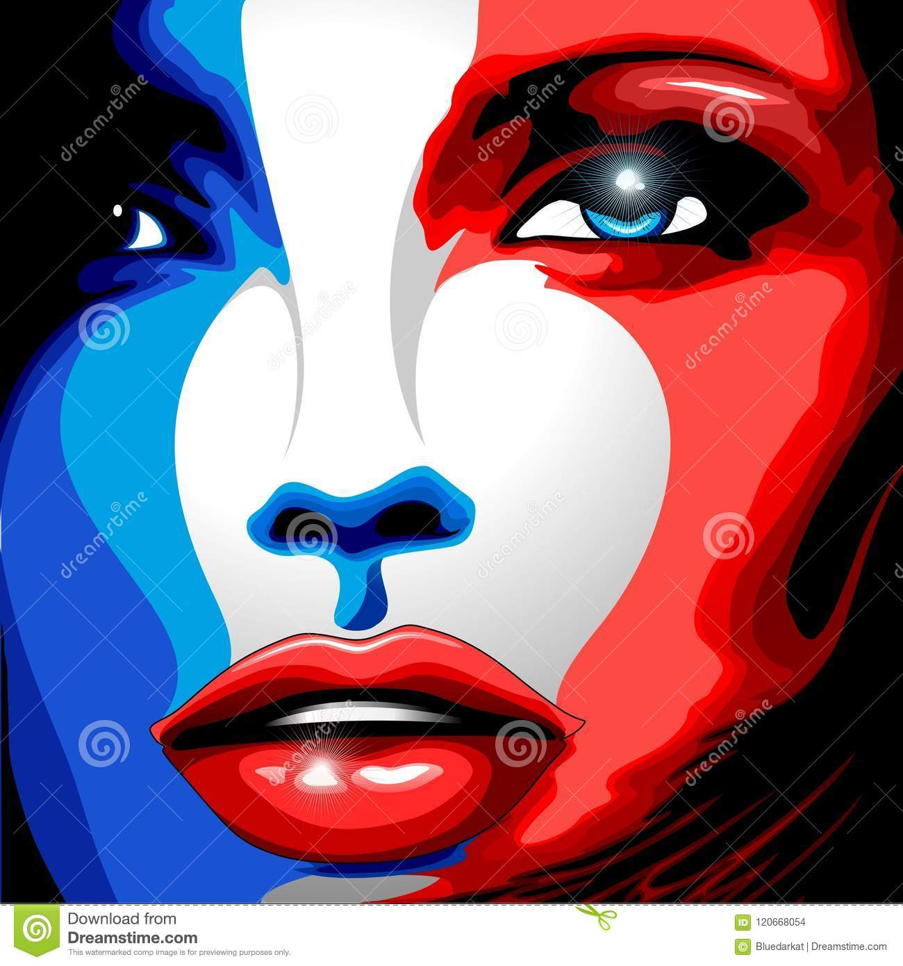 France Flag Beautiful Girl Portrait