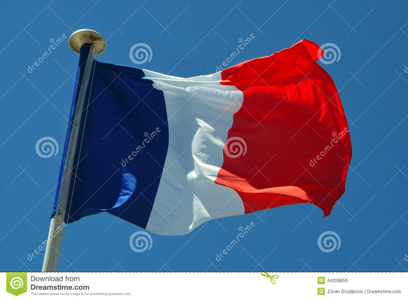 Download A France flag stock photo. Image of pole, patriotism - 44258856