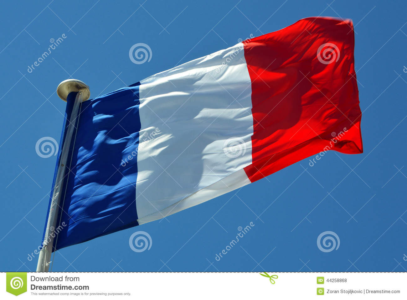Download A France flag stock photo. Image of clouds, pole, pride - 44258868