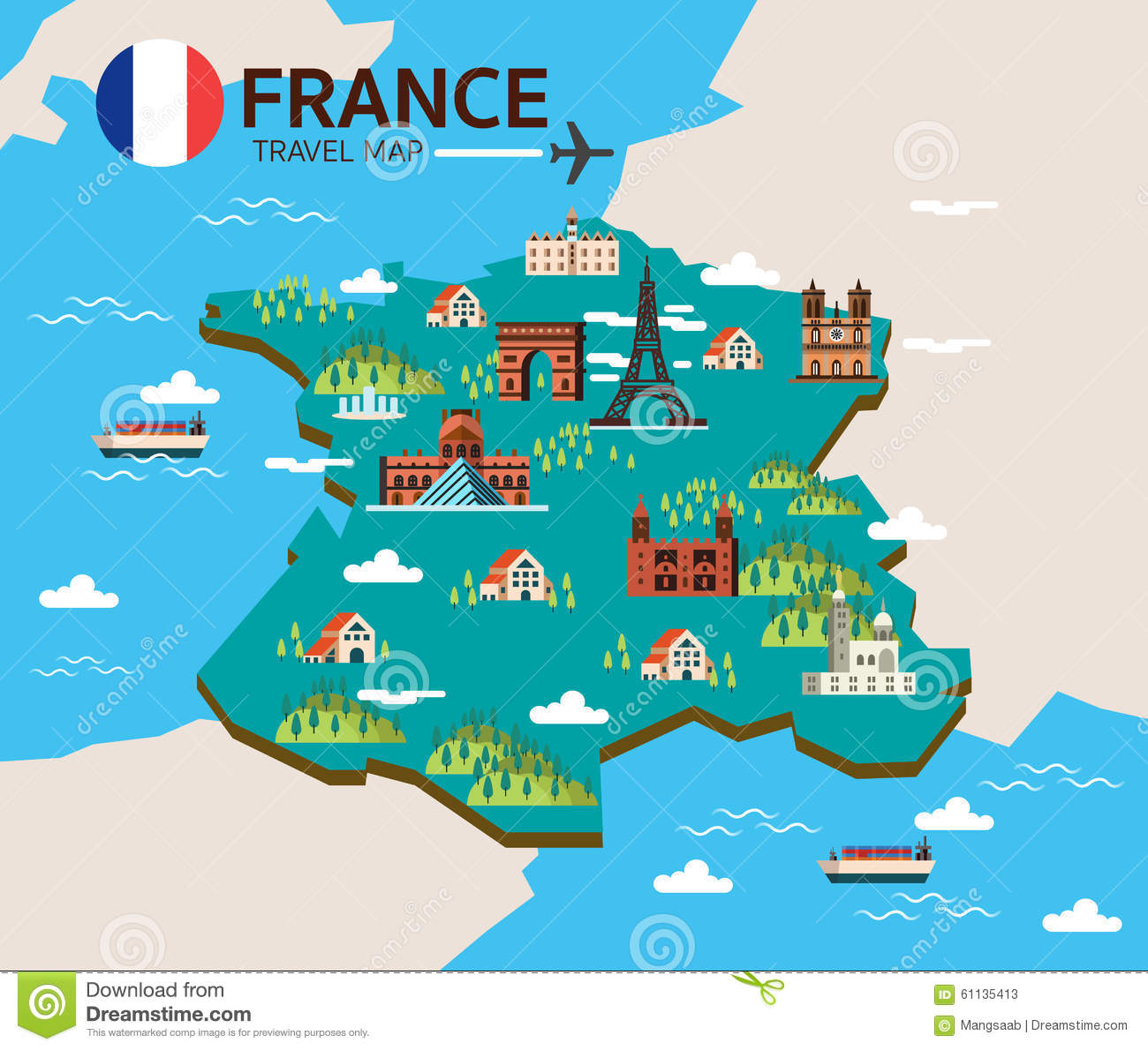Travel Map Of France.France Landmark And Travel Map Stock Vector Illustration Of
