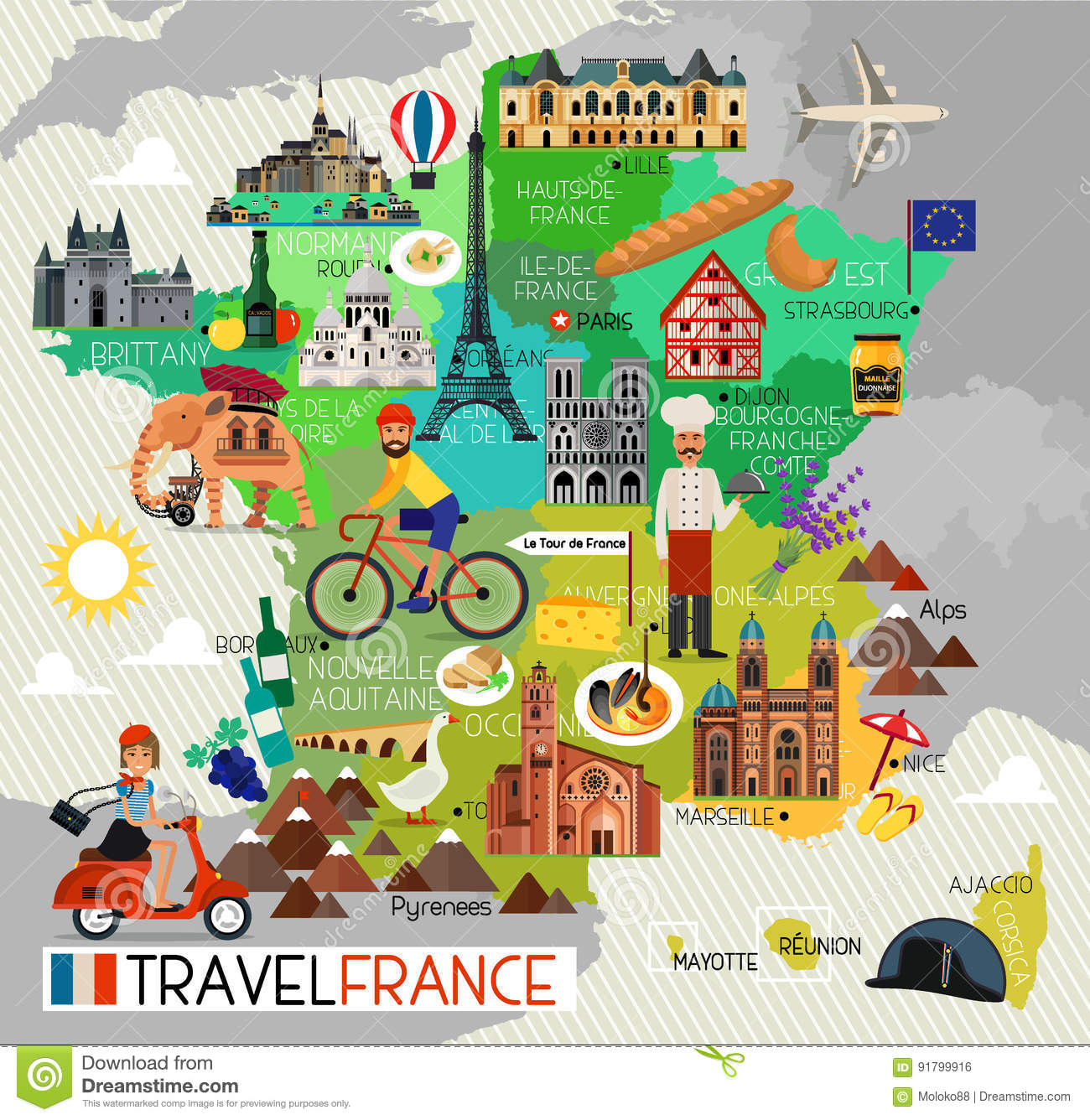 France Landmarks And Travel Map France Travel Icons Vector