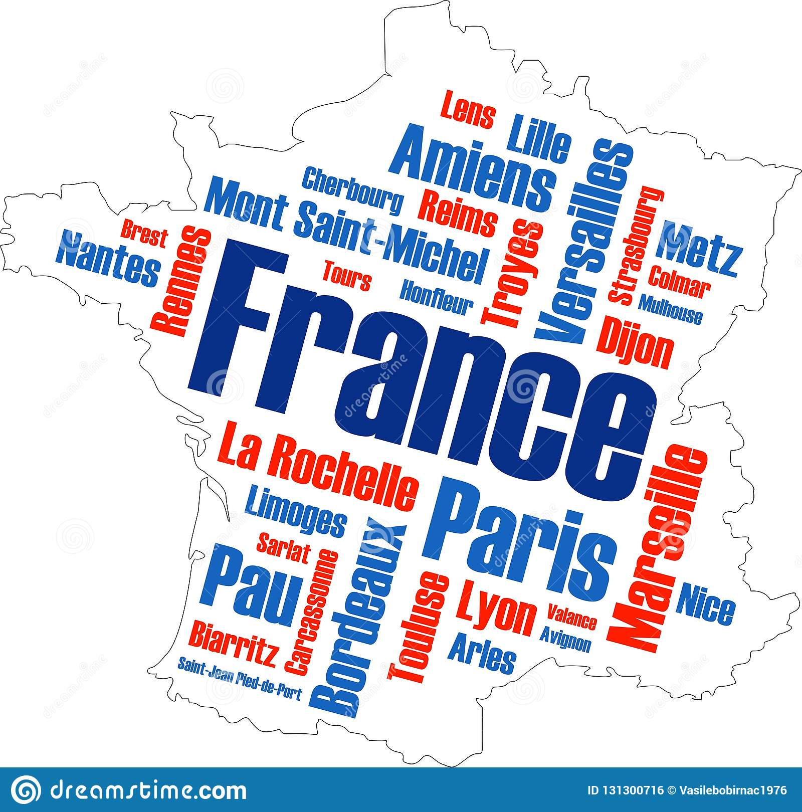 Cities Of France Map.France Map And Cities Stock Illustration Illustration Of Keywords