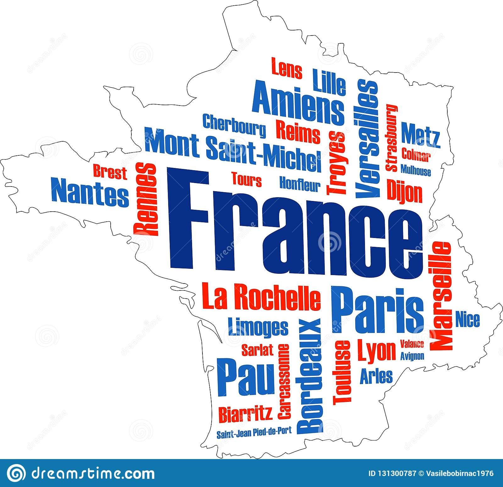 Cities Of France Map.France Map And Cities Stock Illustration Illustration Of Larger