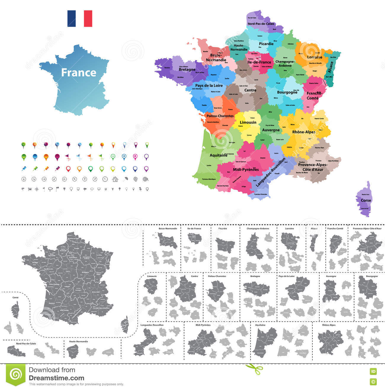 Regions In France Map.France Map Colored By Regions Stock Vector Illustration Of Conte