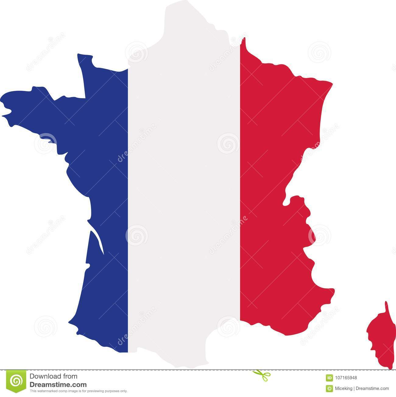 Download France map with flag stock vector. Illustration of contour - 107165948