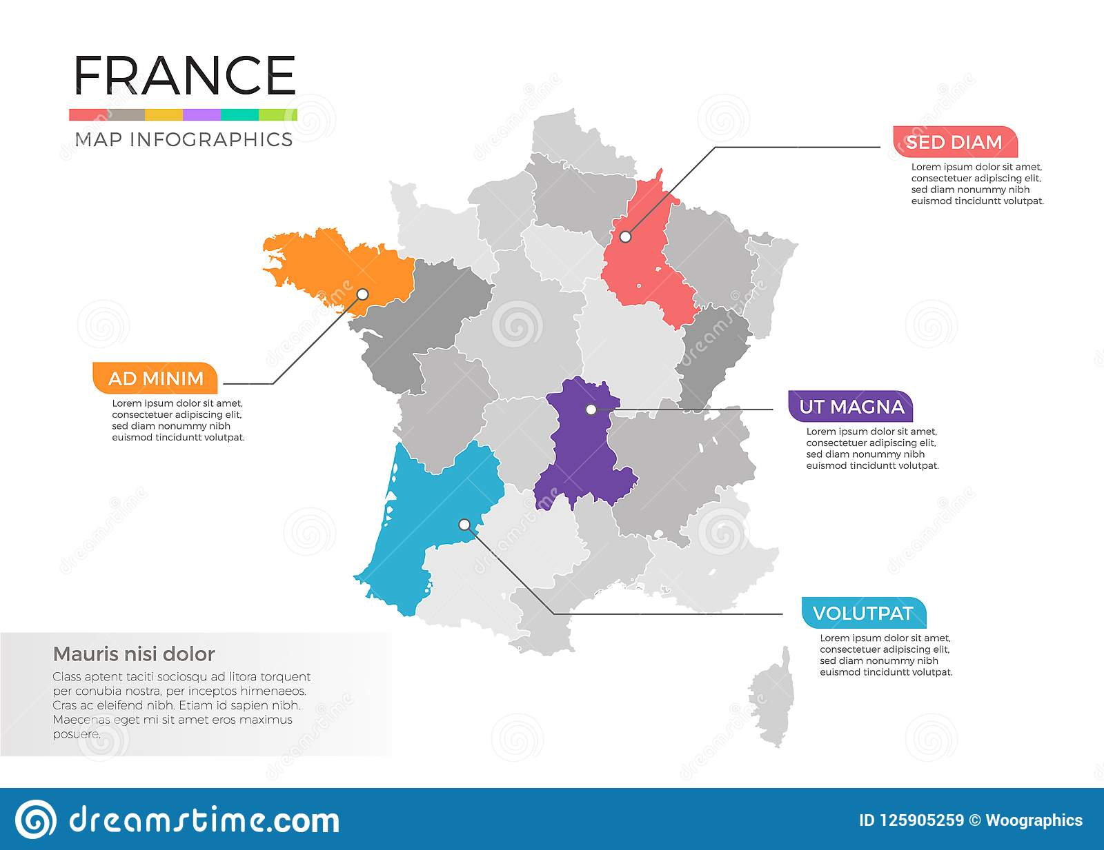 Districts Of France Map.France Map Infographics Vector Template With Regions And Pointer
