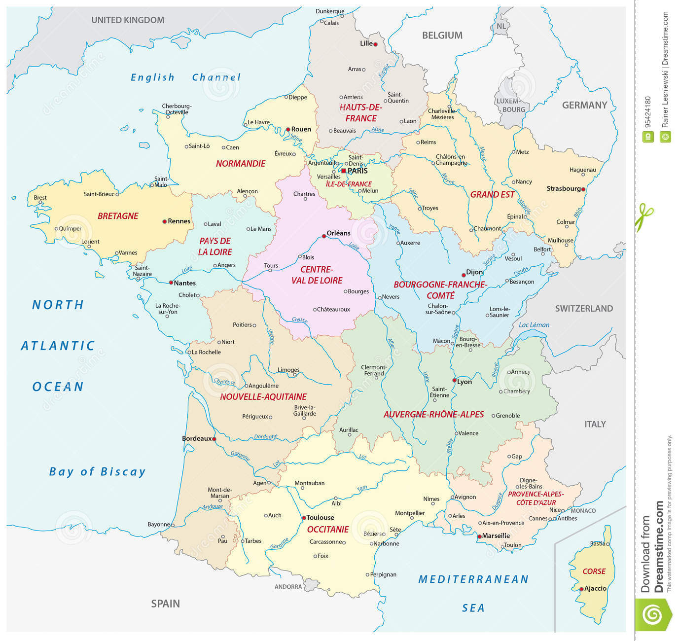 France Map With The New Regions And The Most Important Cities And