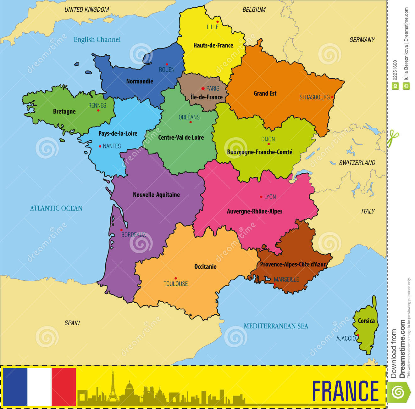 Regions In France Map.France Map With Regions And Their Capitals Stock Vector