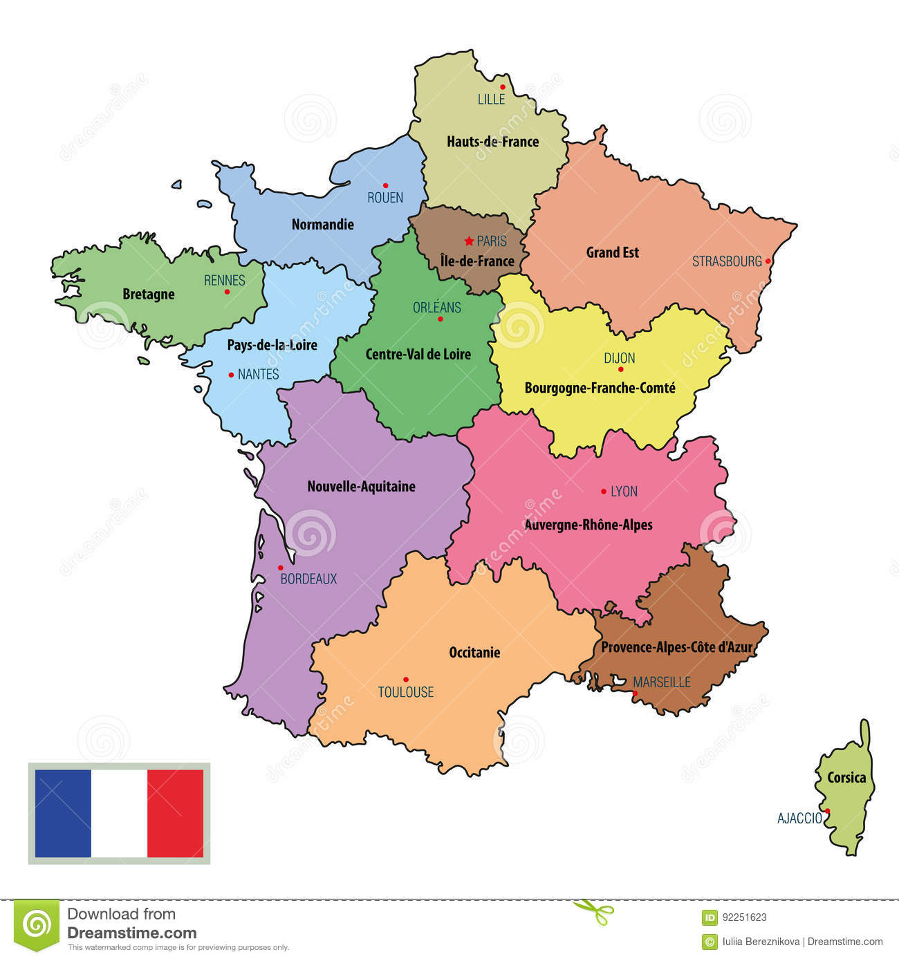 Map Of France Drawing.France Map With Regions And Their Capitals Stock Vector