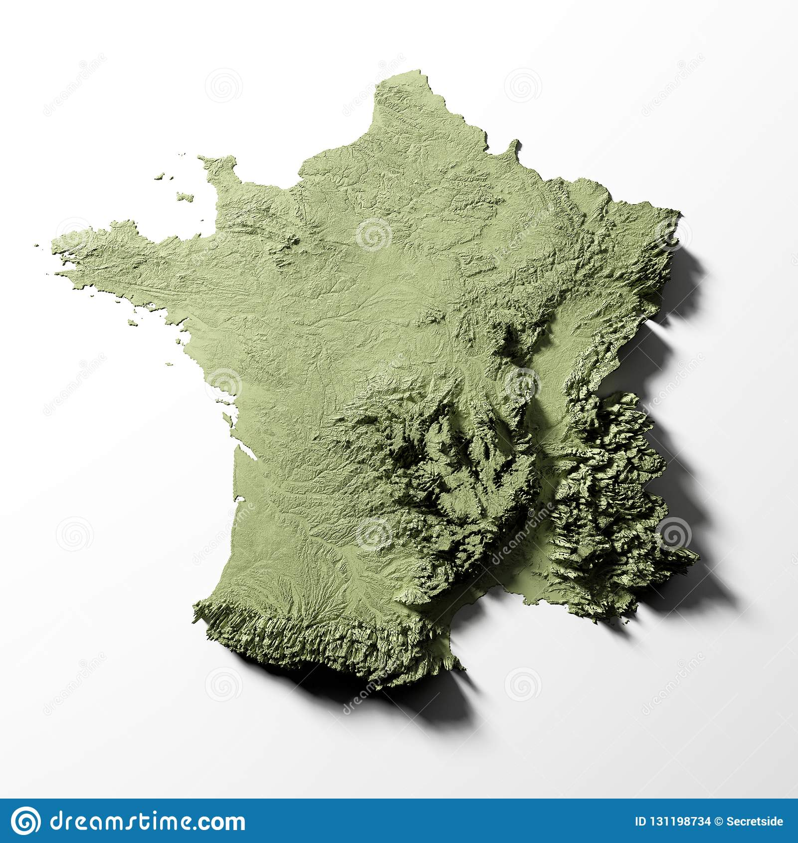 France relief map stock illustration. Illustration of land ...