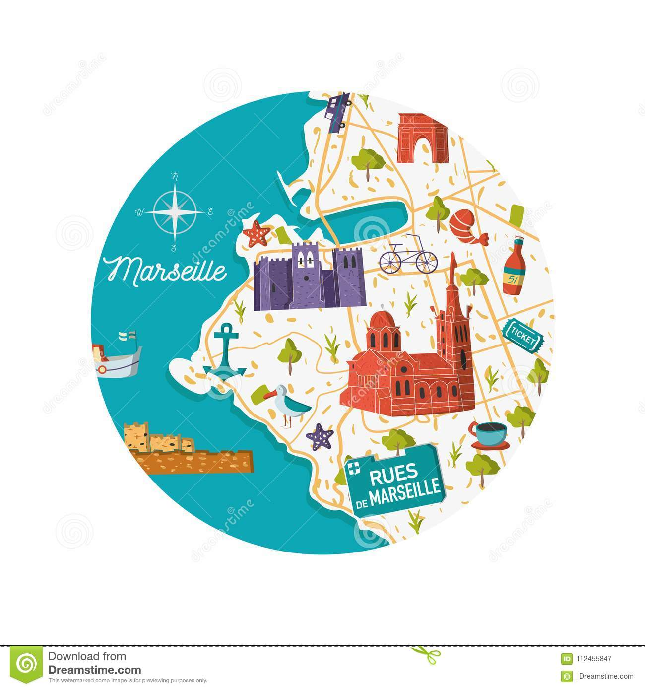 Marseille Map Of France.France Marseille City Map Illustration Stock Vector Illustration