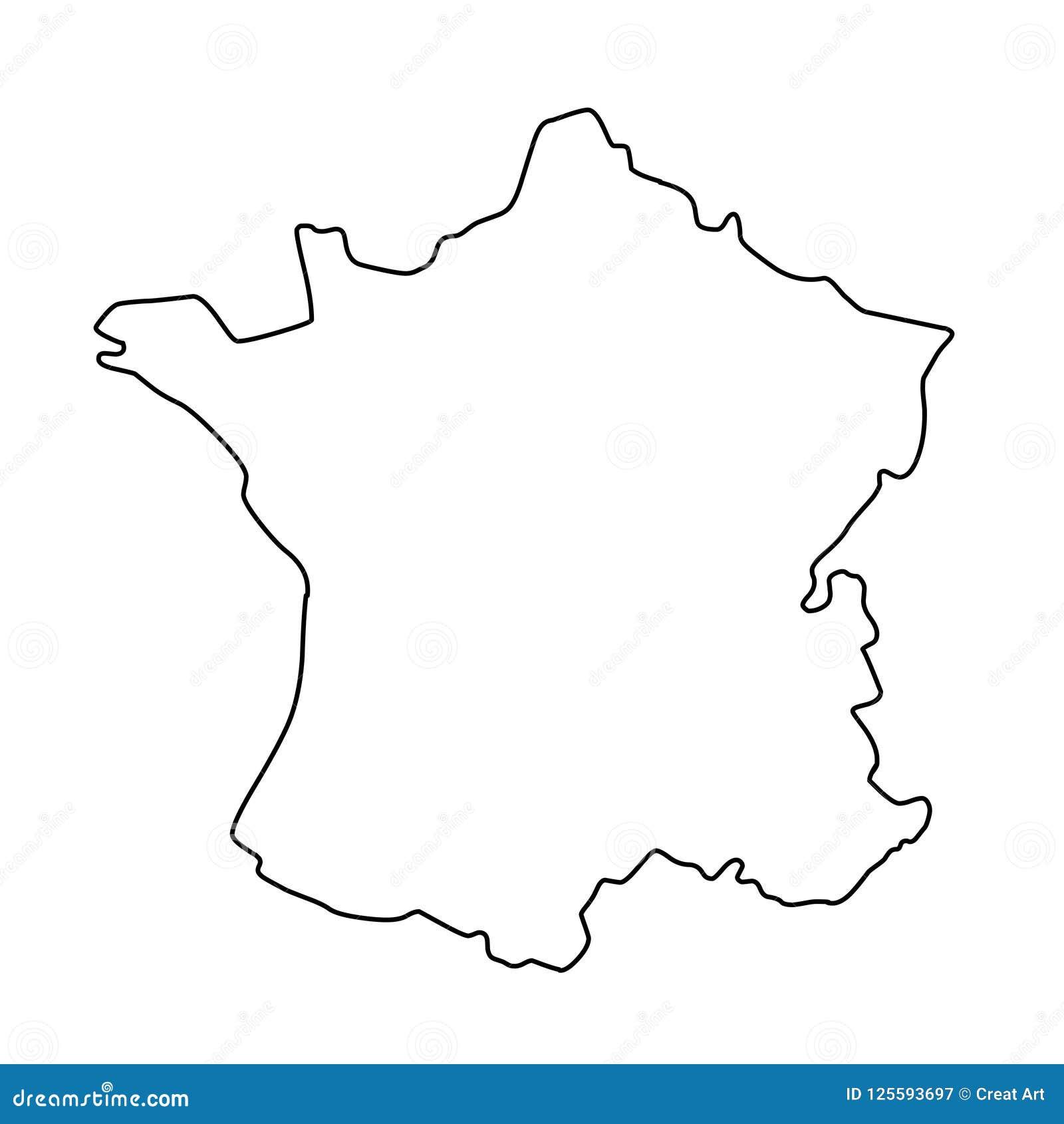 Outline Of Map Of France.France Outline Map Vector Illustration Stock Vector Illustration