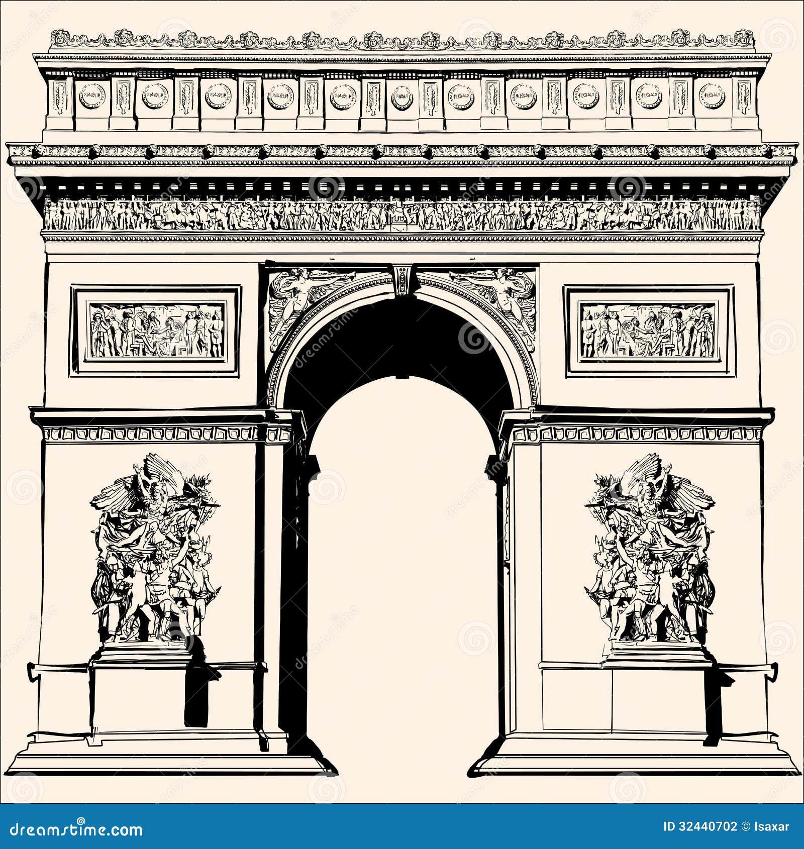 arc de triomphe arch triumph paris france stock illustrations – 54