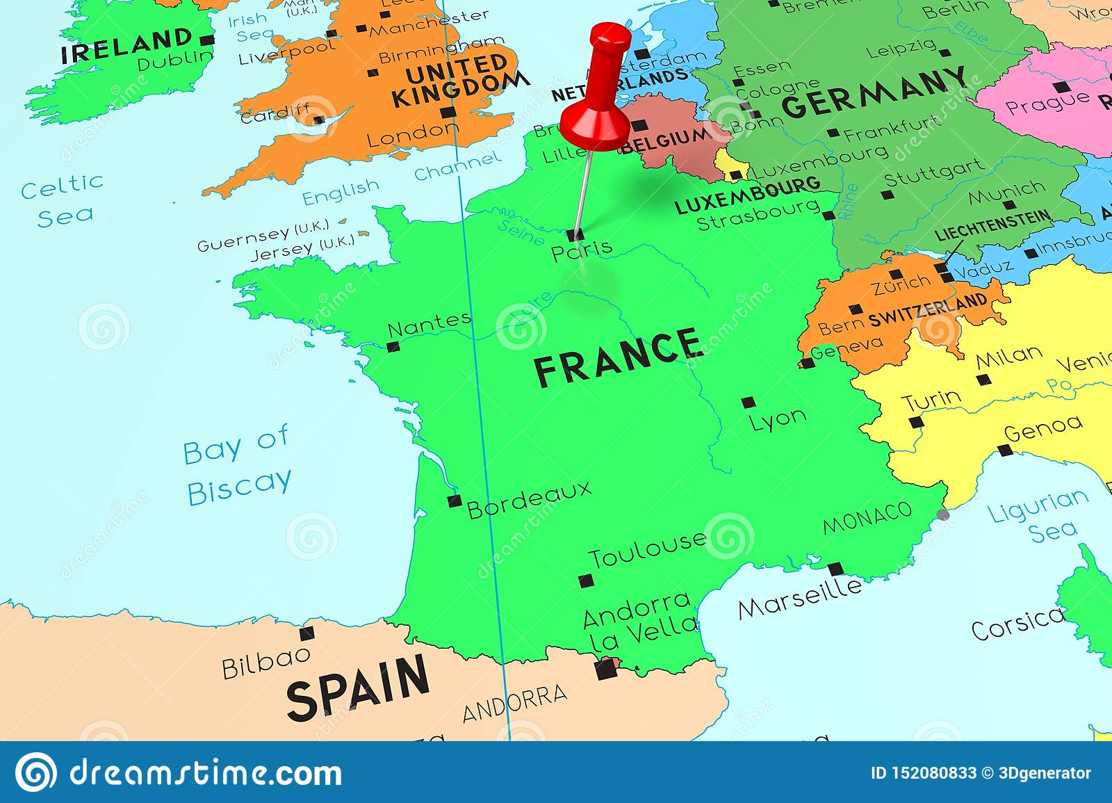 Map Of France With Paris.France Paris Capital City Pinned On Political Map Stock
