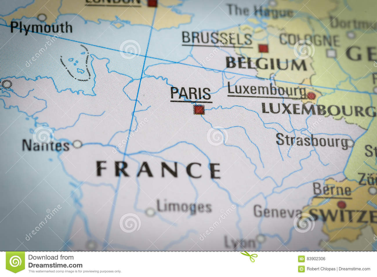 France Paris In Close Up On The Map Stock Photo Image Of Borders