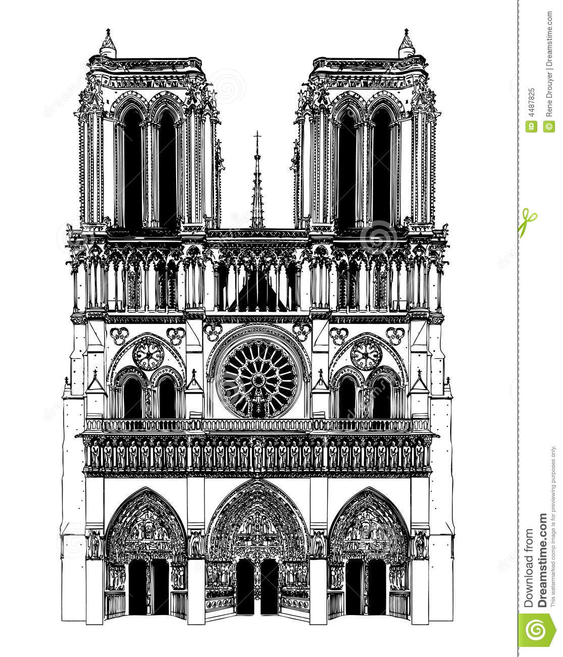 Notre Dame Cathedral (Paris) — a pen and ink drawing by K.P. Singh