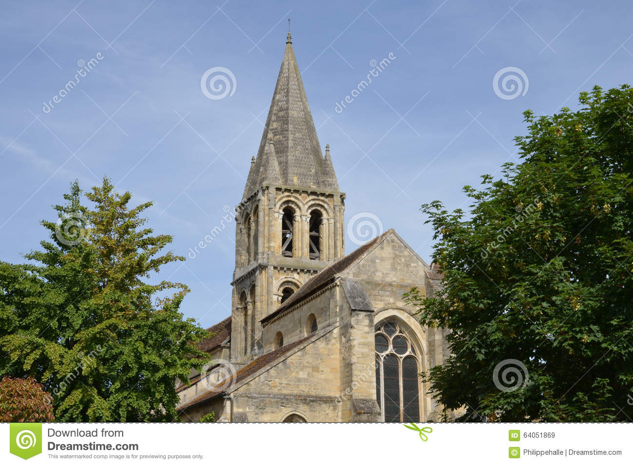 france the picturesque church of jouy le moutier stock photo image 64051869. Black Bedroom Furniture Sets. Home Design Ideas