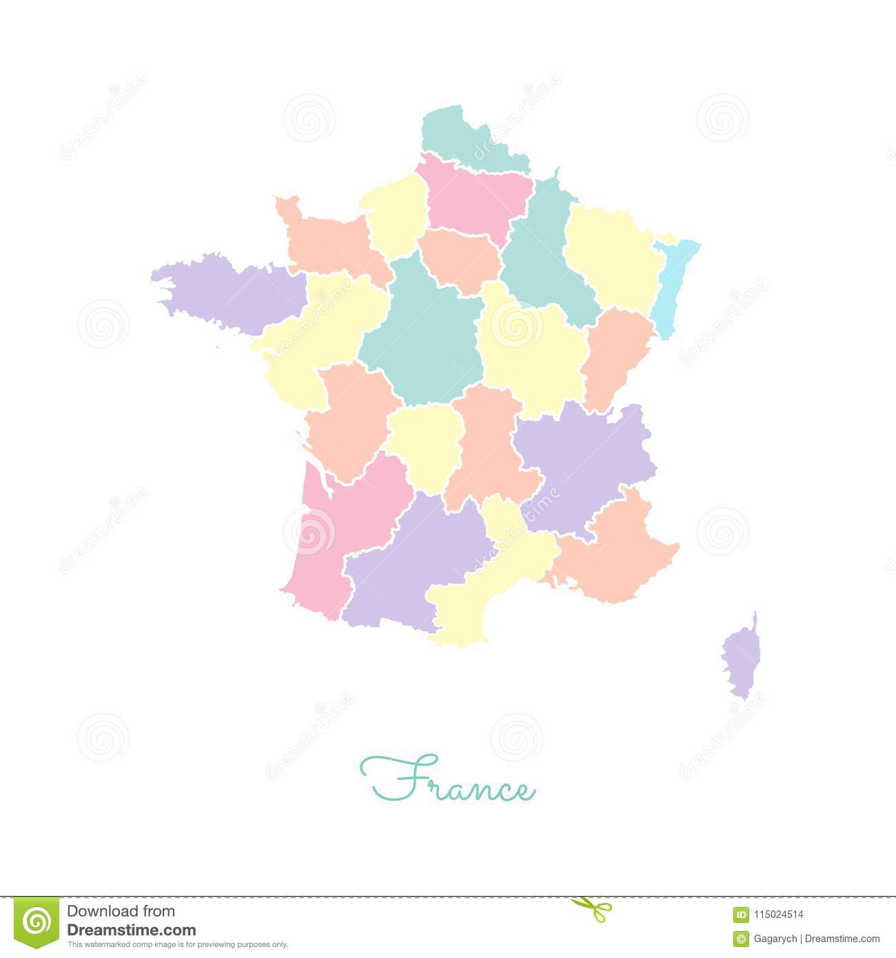 Outline Of Map Of France.France Region Map Colorful With White Outline Stock Vector