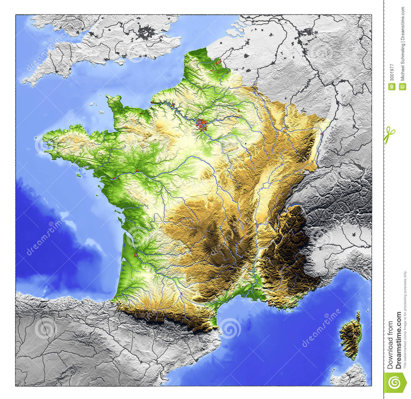 France Relief Map Stock Illustration Illustration Of Earth 3001977