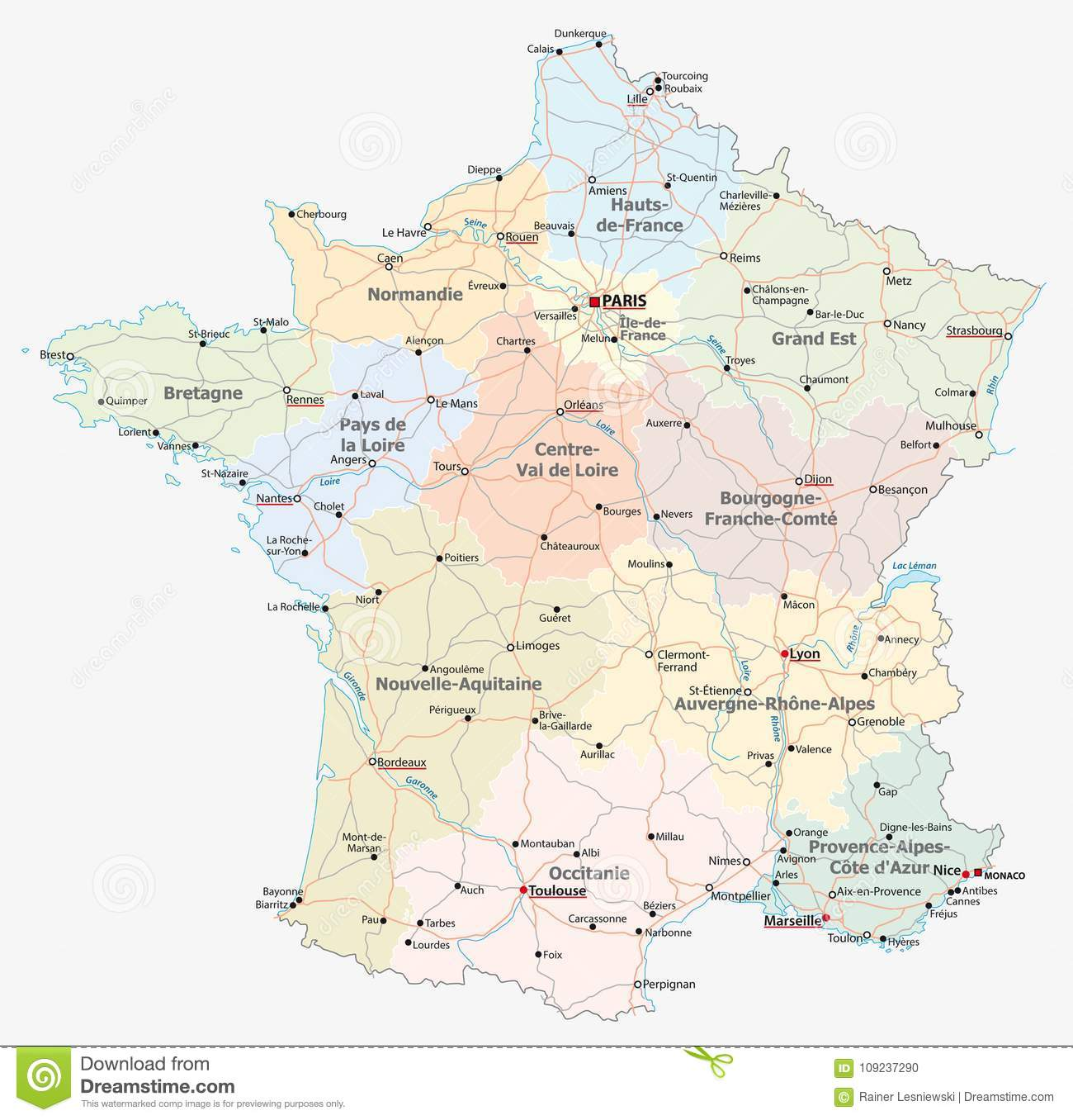 Map Of France Political.France Road Administrative And Political Map Stock Vector