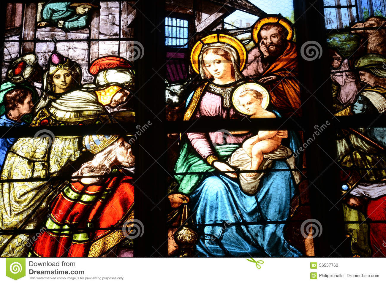 Triel Sur Seine Fr france, stained glass window in the saint martin church of